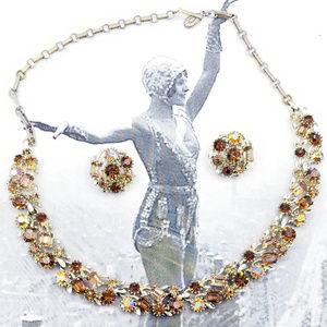 VIntage LISNER AB Amber Rhinestone Necklace set